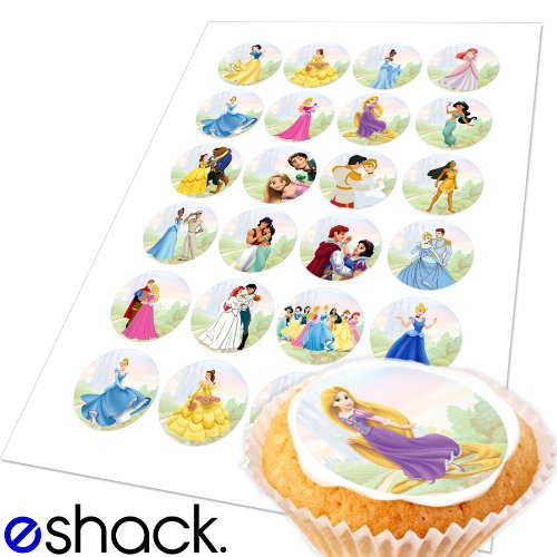 24x Disney Princess Edible Cake Toppers (Birthday Cupcake Topper by eShack)