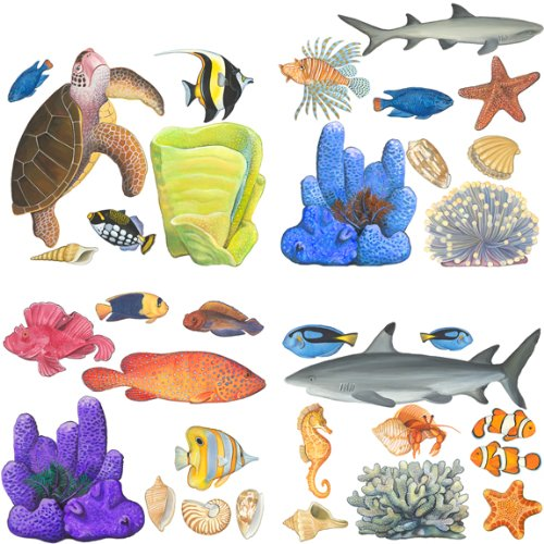 Tropical Fish Sea Turtle Wall Sticker Sheet Bath Decor - 1