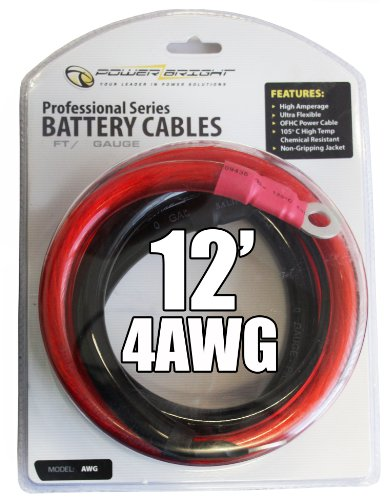 Power Bright 4-AWG12 4 AWG Gauge 12-Foot Professional Series Inverter Cables 1000-1500 watt
