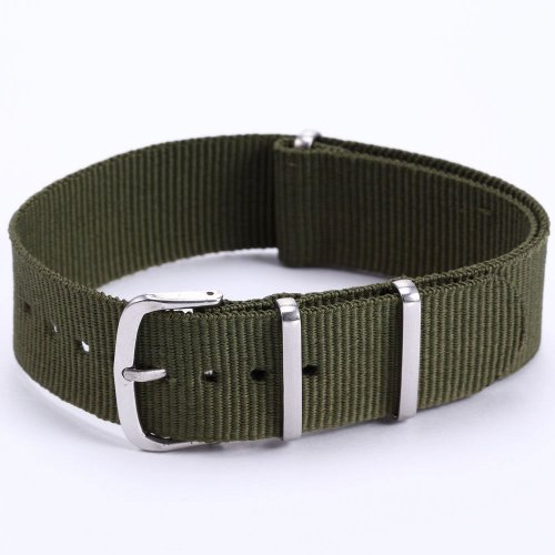 AMPM24 Mens Boy Outdoor Army Green Military Sport Nylon Wrist Watch Strap Band WB2029