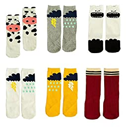 Luckystaryuan 6 Pairs Baby High Stockings Tube Socks Kids Long Cartoon Sock (4-6 years old, unisex style 3)