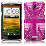 HTC One X Pink Union Jack Diamante Case / Cover / Shell / Shield Part Of The Qubits Accessories Rangeby Qubits