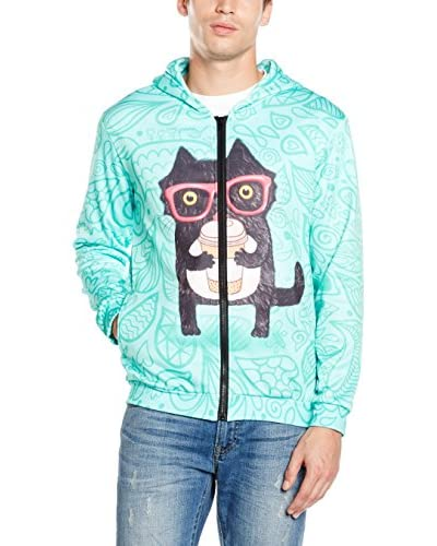 Mr. Gugu & Miss Go Sudadera con Cierre Unisex Coffee Cat