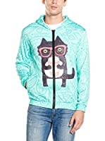 Mr. Gugu & Miss Go Sudadera con Cierre Unisex Coffee Cat (Turquesa)