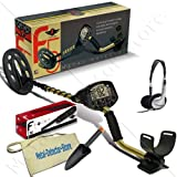 "Fisher F5 Coins Gold Metal Detector W/10"" Elliptical Search Coil, Pinpointer, Headphones, Finds Apron, Digging Trowel"