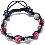 CAITS-JEWELLS PINK AND CLEAR Crystal Bead SHAMBALLA BRACELET with 9 Iced out Grey Disco ball beads covered in crystals and 4 highly polished Hematite beads