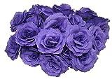 JomMart バラの造花 花のみ 30個セット 紫(濃) HK0170