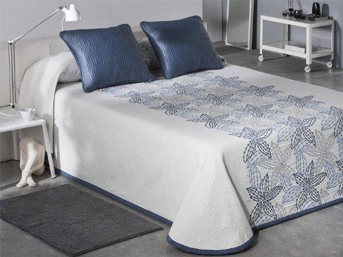 Colcha piqué reversible Nala - cama 135 cm - Azul