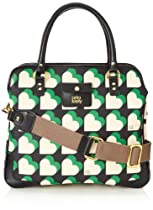 Orla Kiely Textured Vinyl Small Jeanie Top Handle Bag,Emerald,One Size