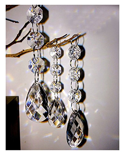 30PCS Teardrop Acrylic Crystal Beads Beads Garland Chandelier Hanging Wedding Party Decor (Hanging Acrylic Crystals compare prices)