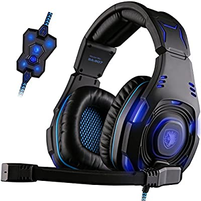 SADES Pro PC USB Gaming Headset Stereo Over Ear gaming Headphones with Microphone Noise Cancelling Volume Control LED Light