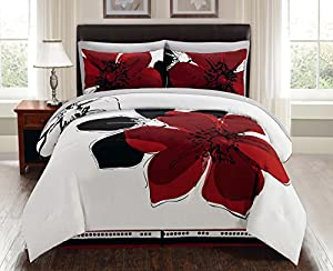 8 Pieces Burgundy Red Black White Grey floral Comforter Bed-in-a-bag Set (Double) FULL Size Bedding + Sheets