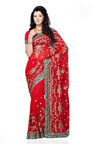 Red Shariyar Red Georgette Saree PRG326