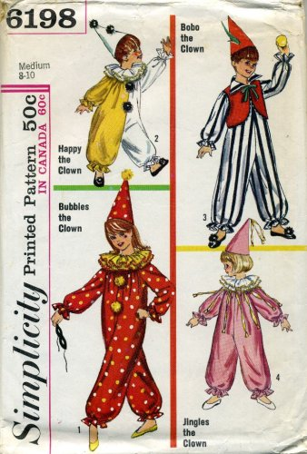 Vintage Simplicity Childrens Clown Costume and Hat Sewing Pattern Size 8 to 10