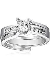 Kobelli 1 cttw Princess-Cut Diamond 14k White Gold Wedding Ring Set