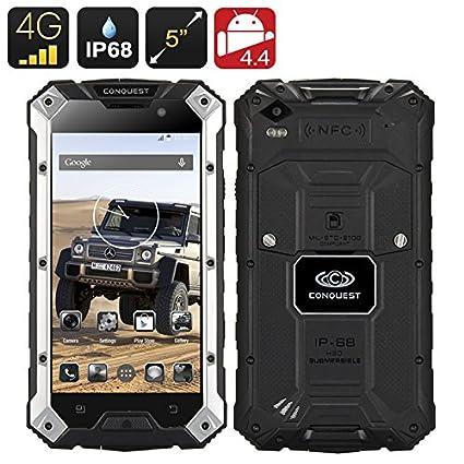Conquest S6 plus - Smartphone robuste / Résistant à l'eau et à la poussière IP68 / 4G / Dual SIM / CPU Quad Core MTK8732 / 2Go de RAM / NFC / Noir
