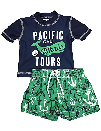 Carters - Baby Boys 2 Piece Spf 50 Anchor Swimsuit Set, Navy, Green 35727-3-6Months
