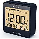 MARATHON CL030054BL Atomic Desk Clock, With Backlight, Heat & Comfort Index - Batteries Included