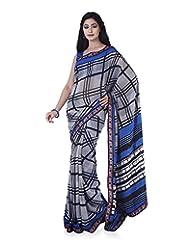 Aadarshini Women's Georgette Saree (4086, Black And White)