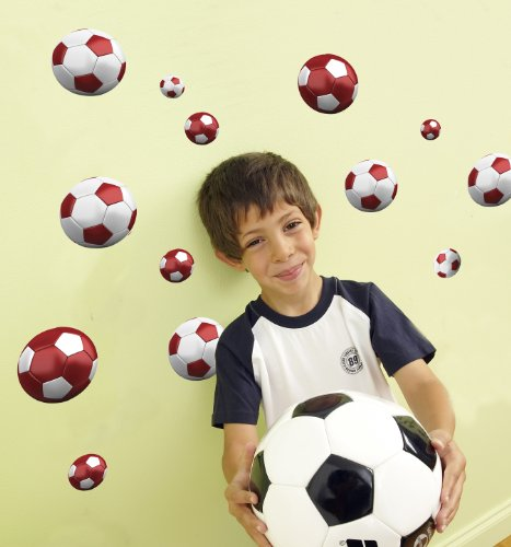 Funtosee Wall Decals, Red Soccer - 1
