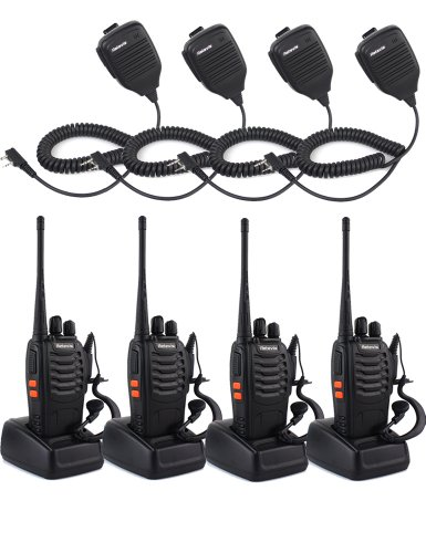 Retevis H-777 Uhf 400-470Mhz 5W 2-Way Radio Walkie Talkie 16Ch Single Band With Original Earpiece Handheld Ham Amateur Radio Transceiver Black 4 Pack And Speaker Microphone 4 Pack