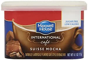 Maxwell House International Coffee Sugar Free Suisse Mocha Cafe, 4.1-Ounce Cans (Pack of 4)