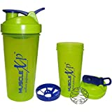 MuscleXP Neon Green Shaker Bottle With Stainer + Wire Ball 700ml - Design 4