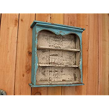 Shabby Chic Style Blue Wall Shelf, Distressed Turquoise, Book Shelf, French Country, Shadow Box, Display Case, CEDAR, HANDMADE
