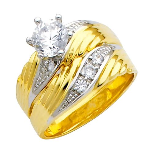 14K Yellow and White Gold Round CZ Cubic Ziconia Solitaire Engagement and Wedding Band Ring Set for Women