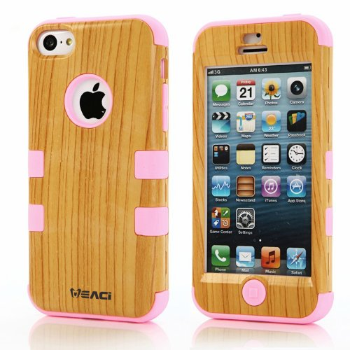 Meaci Iphone 5C Case Hard Soft Combo Hybrid Defender High Impact Body Armorbox Hard Pc&Silicone Case (Wood Pattern&Light Pink)