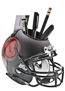 Buy NCAA Utah Utes Helmet Desk Caddy, Matte Black Red by Schutt