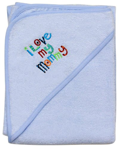 "Extra Large 40""x30"" Absorbent Hooded Towel, I Love My Mommy (Light Blue), Frenchie Mini Couture"