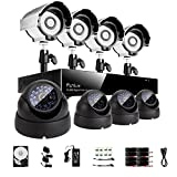 Sistema de vigilancia Funlux 8 canales, 960H red DVR 8 600TVL, con 4 cámaras de bala y 4 cámaras de seguridad de cúpula de 500GB HDD, P2P, QR-Code.