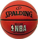 Spalding Ballon de basketball pour extérieur avec logo NBA argenté