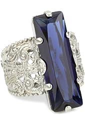 "Sorrelli ""Emerald City"" Crystal Elongated Adjustable Silvertone Ring"
