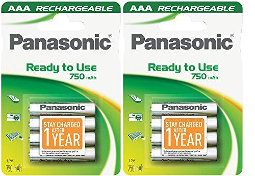Panasonic P03E Lot de 8 piles AAA NiMh préchargées et prêtes à l'emploi, rechargeables 750 mAh