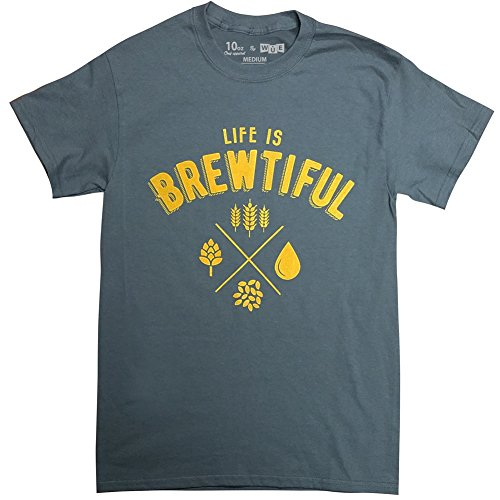 10oz Apparel Men's Life is Brewtiful mens Beer T-shirt XL Charcoal