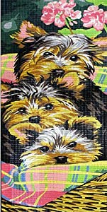 YORKIE PUPPIES IN A BASKET NEEDLEPOINT CANVAS
