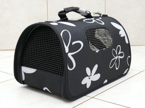 Katzentasche-Hundetasche-FLOWER-Schwarz-Gre-L-26x50x28cm