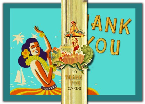 Dolce Mia Hula Girls Thank You Card - Pack of 10 - 1