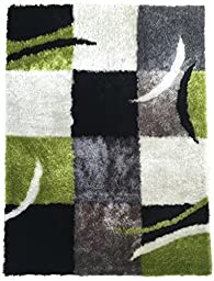 Green white Gray Black 5-footx7-foot square medium pile shag polyester handmade-rugs Art Deco geometric-pattern