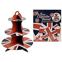3 Tier Union Jack Cupcake Stand - Cake Decoration British Flag Dining Tableware