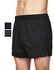 2 Pack Pure Cotton Assorted Woven Boxers