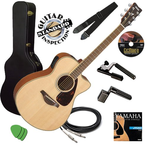 Yamaha FSX720SC Guitar STAGE BUNDLE w/ Hard Case, Capo & Strap