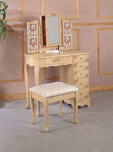 Coaster Queen Anne Style Vanity Table and Stool/Bench Set, Hand Painted