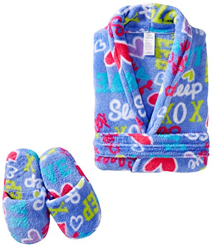 Sleep & Co Big Girls' Love To Sleep Robe with Slippers Set