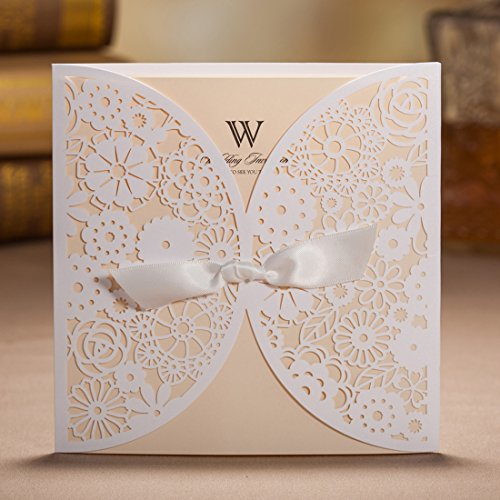 Wishmade 50x Laser Cut Trifold Lace Sleeve Wedding Invitations Cards Kits for Wedding Engagement Bridal Shower Baby Shower Birthday Quinceanera Graduation Paper with Bow(set of 50pcs) 0
