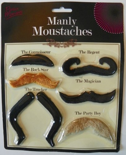 [Manly Moustaches - Bulk Set of 72 Adhesive Mustache] (Manly Halloween Costumes)