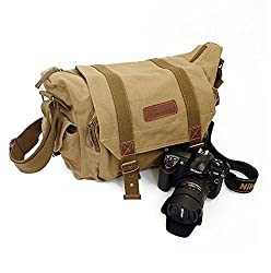 Y.S.Y Canvas Shoulder Bookbag Laptop Bag + Dslr Slr Camera Canvas Shoulder Bag For Sony Canon Nikon Olympus Kahki