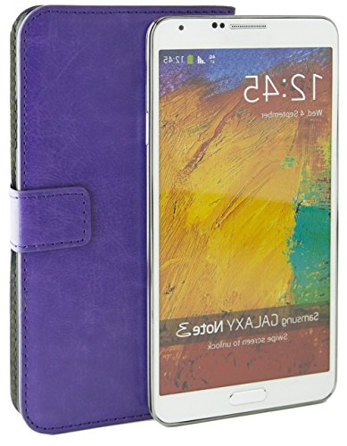 Mylife Light Violet Purple {Professional Design} Faux Leather (Card, Cash And Id Holder + Magnetic Closing) Slim Wallet For Galaxy Note 3 Smartphone By Samsung (External Textured Synthetic Leather With Magnetic Clip + Internal Secure Snap In Closure Hard front-117304